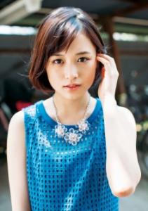 大原櫻子の青いノースリーブ姿の画像